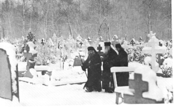 New Diveyevo Convent, Spring Valley, New York, 1965. Archbishop John on a visit to his spiritual daughters from Shanghai, who became the first nuns of New Diveyevo. He is seen here with Fr. Adrian, the convent's builder, and Fr. Adrian's successor, Fr. Alexander