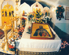 Holy relics of St. John, located in the crypt of the St. John of Rila Women's Monastery, which he founded in northeastern St. Petersburg