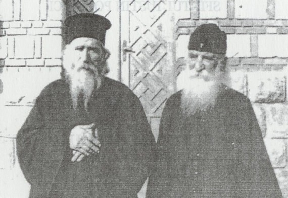St. Justin Popovich (right) together with Elder Cleopa of Romania - Chelije Monastery, 1977