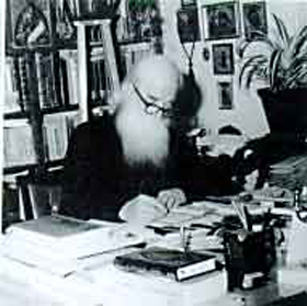 St. Justin Popovich writing...