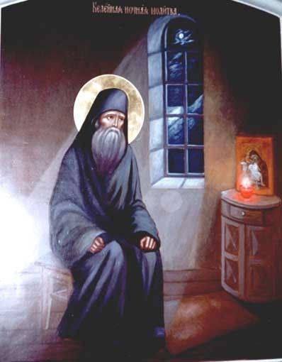 St. Silouan praying in his Mount Athos cell