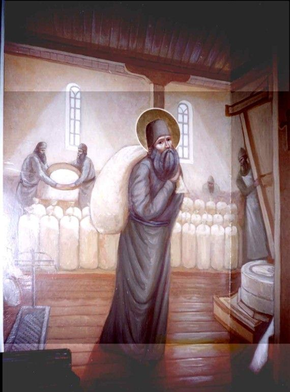 St. Silouan working in the monastery mill