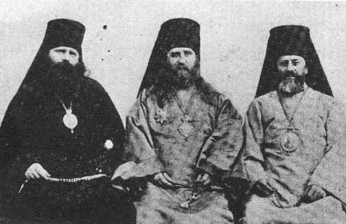 St. Tikhon center, with his two vicars - left Bishop Innokenty and right St. Raphael