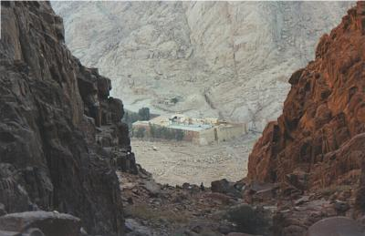View of the Monastery of St. Catharine from Mount Sinai