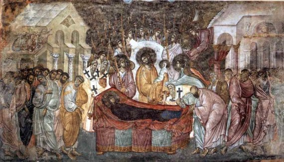 Dormition of Mother of God - the most famous Sopocani fresco, Sopocani Monastery, Serbia