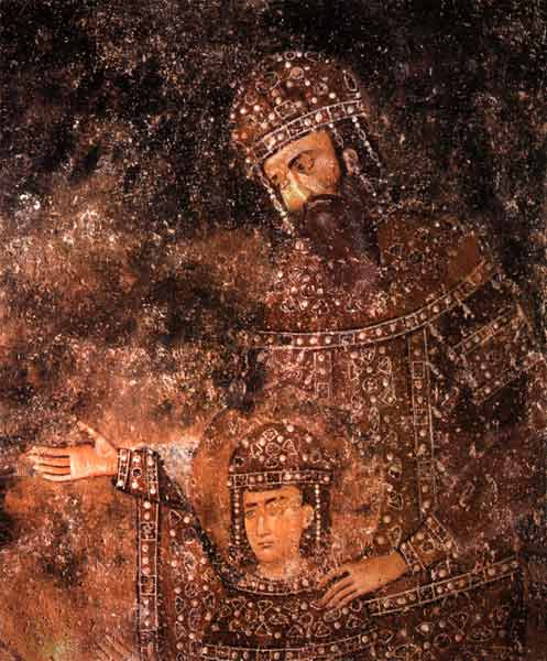 King Uros with the young prince Milutin, Sopocani Monastery, Serbia