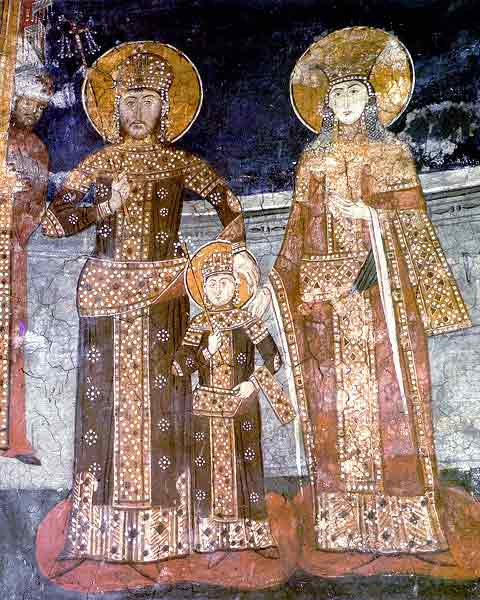The family of Emperor Dusan - queen Helen and young prince Uros, Visoki Decani Monastery, Serbia, XIV Century