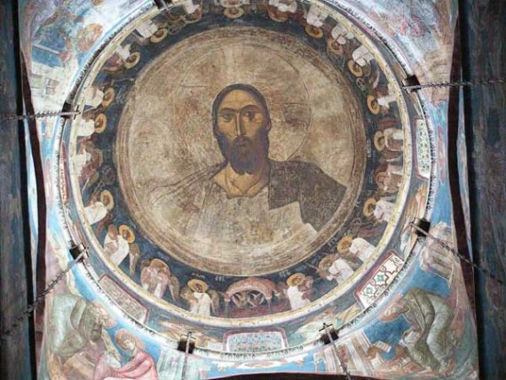 View of the Christ Pantocrator in the dome of the church, Visoki Decani Monastery, Serbia, XIV Century