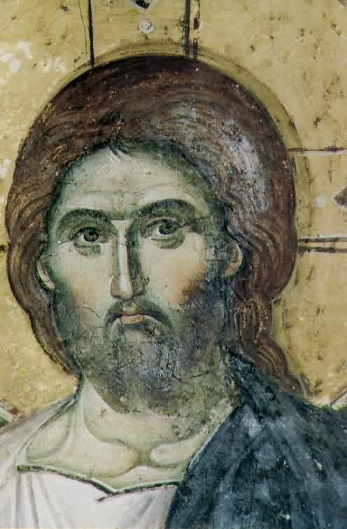 The head of Lord Jesus Christ - painted by Manuil Panselinos, Protaton, Mt. Athos, 14th century