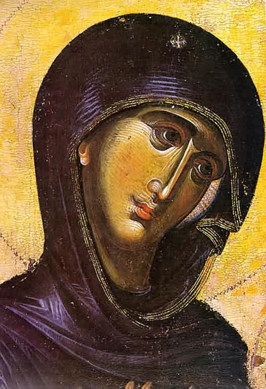 Theotokos 'Directress' (detail - Mt. Athos, 13th c.)