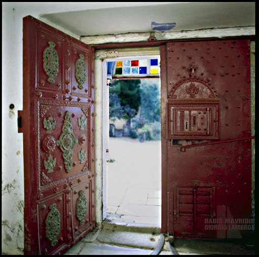 All the doors of the monastery are heavy and coated with heavy metals