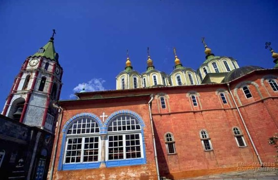 The principal church within the monastery, follows the design of most of the Athos churches