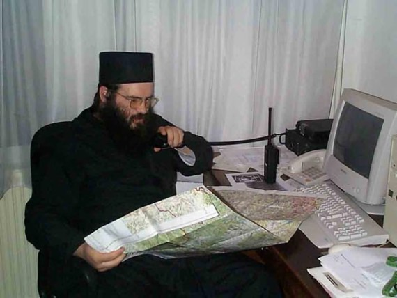 Fr. Justin and his communication center, Visoki Decani Monastery, Serbia