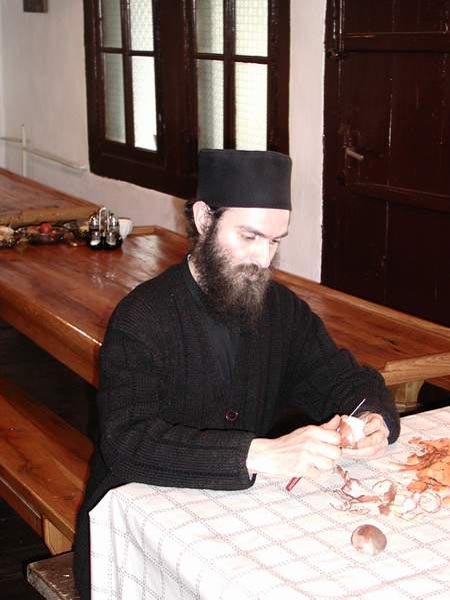 In the kitchen, Visoki Decani Monastery monk, Serbia