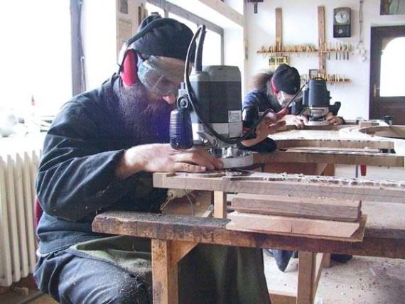 In the woodcarving workshop, Visoki Decani Monastery, Serbia