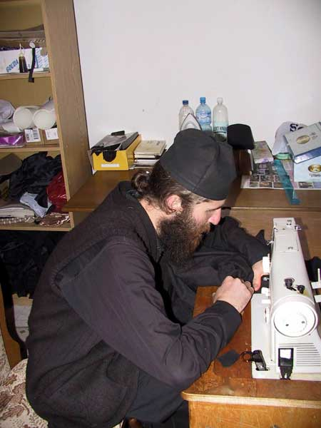 Making monastic clothes, Holy Archangels Monastery, Serbia