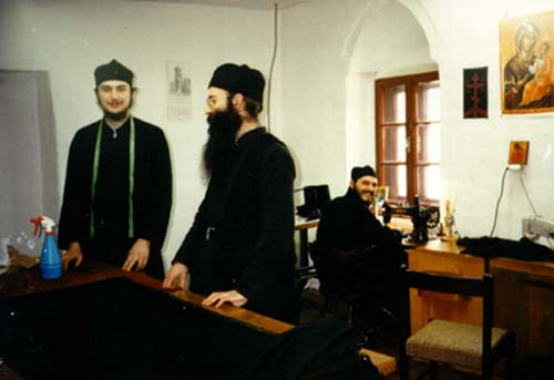Making monastic clothes, Visoki Decani Monastery monks, Serbia