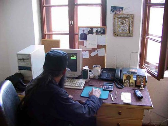 Modern technology in 13th century setting, at Sopocani Monastery, Serbia