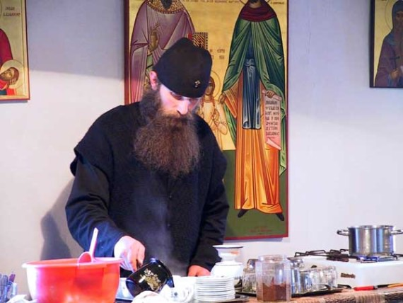 Serving the guests of the monastery, Visoki Decani Monastery, Serbia