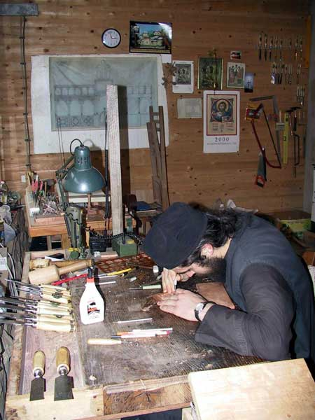 Woodcarving workshop 2, Holy Archangels Monastery, Serbia