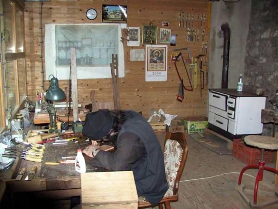 Woodcarving workshop, Holy Archangels Monastery, Serbia