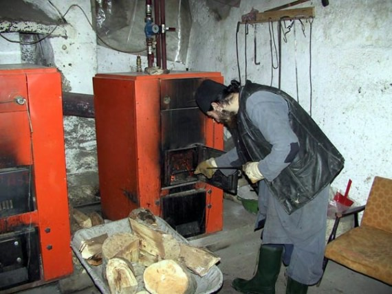 Working with the heating system, Visoki Decani Monastery, Serbia