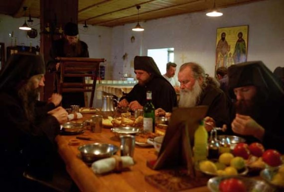 Communal meal in the everyday 'small' refectory, Visoki Decani Monastery monks, Serbia