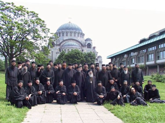 Serb Bishop Artemije and the monks in front of St. Sava Cathedral in Belgrade, Serbia