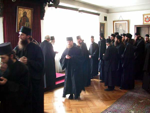 Serb monks from Kosovo-Metohija and Raska receive a blessing from His Holiness Serb Patriarch Pavle