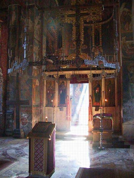 The first morning rays during the Holy Service, Visoki Decani Monastery, Serbia