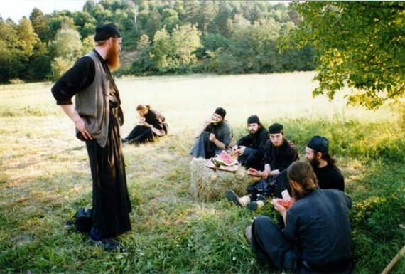 A short break after the work in the field, Visoki Decani Monastery monks, Serbia