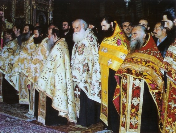 Abbot Ephraim in the middle of a group of priests at the enthronation of an abbot