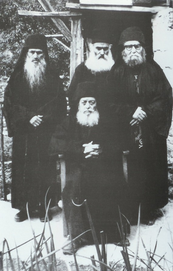 Abbot Niciphor (sitting), Father Procopius, Fr. Ephraim and Fr. Iov, which is the father after flesh of Fr. Ephraim