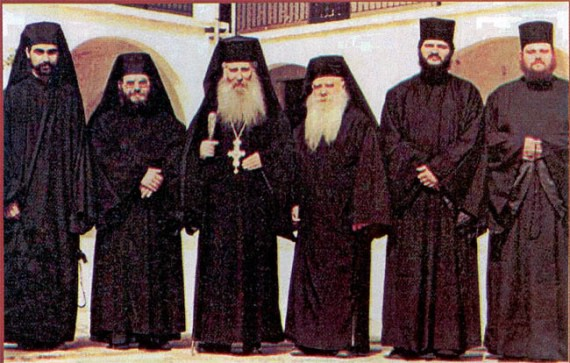 Abbot Jacov together with the other fathers of the Holy Monastery of Blessed David (1989)