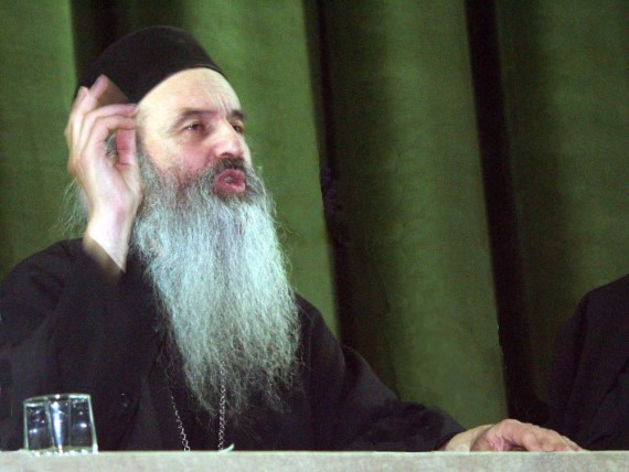 Fr. Rafail Noica talking at religious conference in Bucharest - November 2002 (1)