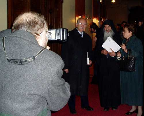 Fr. Rafail leaving after delivering a speech at an orthodox conference in Bucharest - November 2003 (8)