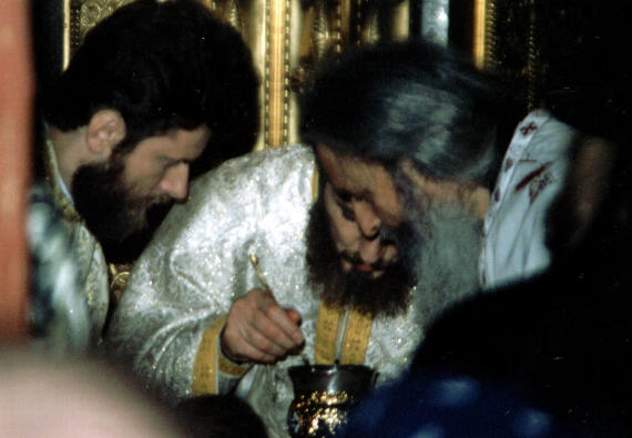 Fr. Rafail during the Divine Liturgy - St. Nicholas Church, Bucharest, 2002 (4)