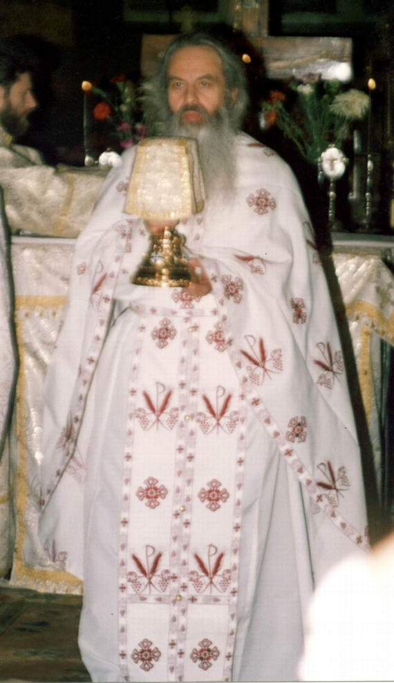 Fr. Rafail during the Divine Liturgy - St. Nicholas Church, Bucharest, 2002 (5)