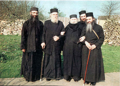 Fr. Rafail together with Archimandrite Sophrony and some other fathers, Essex Monastery, England