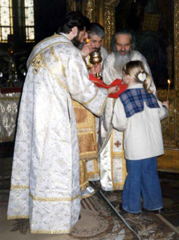 Fr. Rafail during the Divine Liturgy - St. Nicholas Church, Bucharest, 2002 (1)
