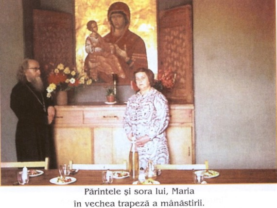 Fr. Sophrony together with his sister, Mary, in the old refectory of the monastery