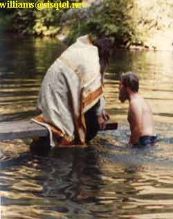 Baptizing a local 'American Convert' (August, 1980) - Copyright � The Blessed Seraphim Hermitage