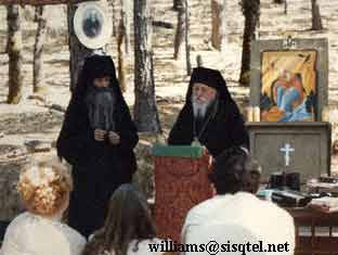 Translating a lecture by Archbishop Anthony at the Saint Herman Summer Pilgrimage, August 1980 (2) - Copyright � The Blessed Seraphim Hermitage