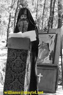 Blessed Seraphim lecturing on the 'Orthodox Revival in the Soviet Union as an Inspiration for American Orthodoxy' at the Saint Herman Summer Pilgrimage, August 1980 (1) - Copyright © The Blessed Seraphim Hermitage