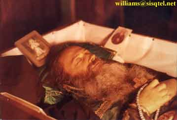 Blessed Seraphim in Repose, photographed in candlelight. September, 1982 - Copyright © The Blessed Seraphim Hermitage