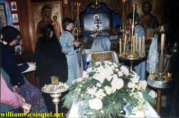 Ordination of Reader Lawrence to the Sub-Diaconate, at Blessed Seraphim's Funeral Liturgy. Blessed Seraphim's coffin is in the foreground (2) - Copyright � The Blessed Seraphim Hermitage