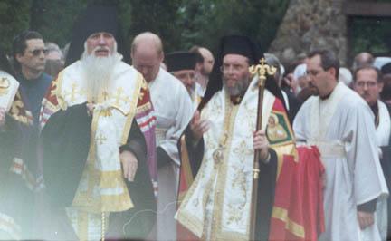 11. Vigil - OCA Bishop Tikhon of the West and Antiochian titular Bishop Basil of Enfeh Al-Khoura (and Wichita) take their possessions as the initial procession enters the area for the Vigil. Each of the hierarchs were accompanied by a subdeacon or an acolyte to assist them throughout the service