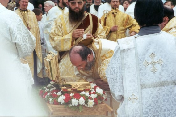 12. Vigil - Antiochian Bishop Basil of Enfeh El-khoura (and Wichita) venerates the relics of St. Raphael at the Vigil service. Bishop Basil was co-chair of the joint glorification committee