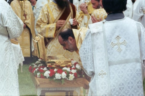 13. Vigil - Antiochian Bishop Demetri (Khoury) venerates the relics of St. Raphael at the Vigil service
