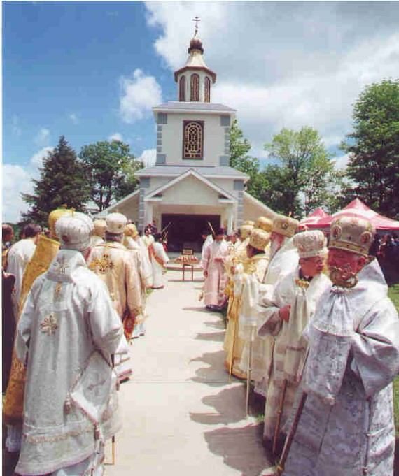 18. Procession and Divine Liturgy - Looking down the row of hierarchs in attendance at the Glorification Liturgy. In the background is the chapel that was used for the Vigil